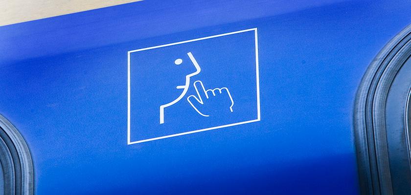Aanduiding stiltecoupé op trein